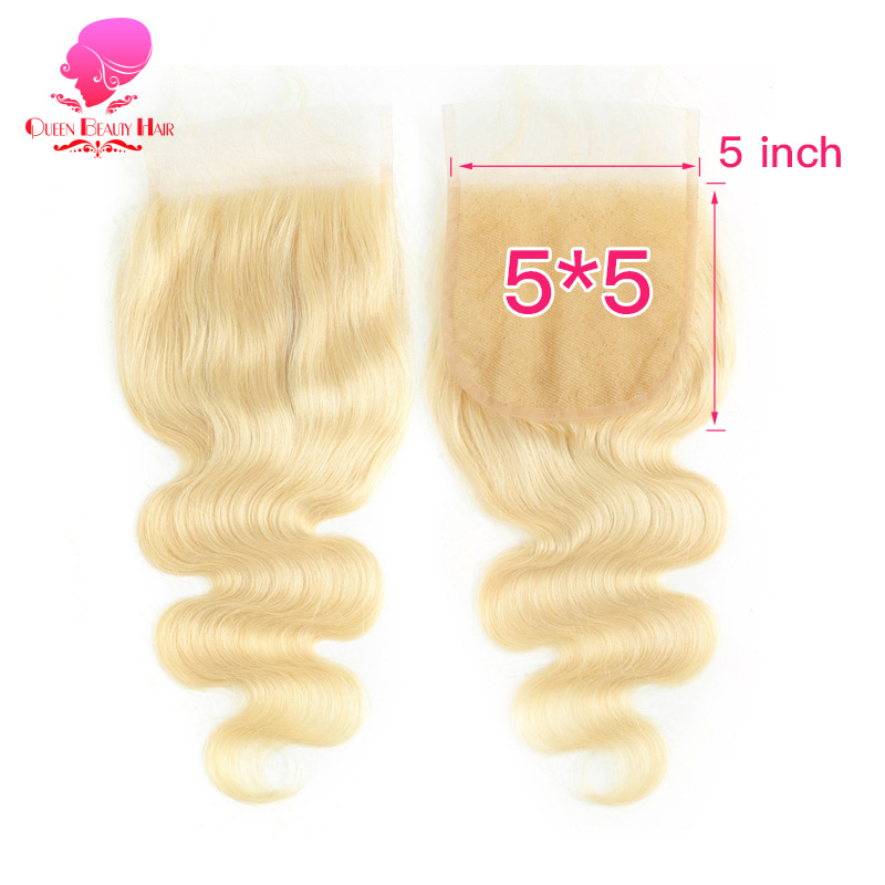 QUEEN 5x5 Lace Closure 613 Blonde Honey Color Body Wave Brazilian Remy Human Hair Free Middle