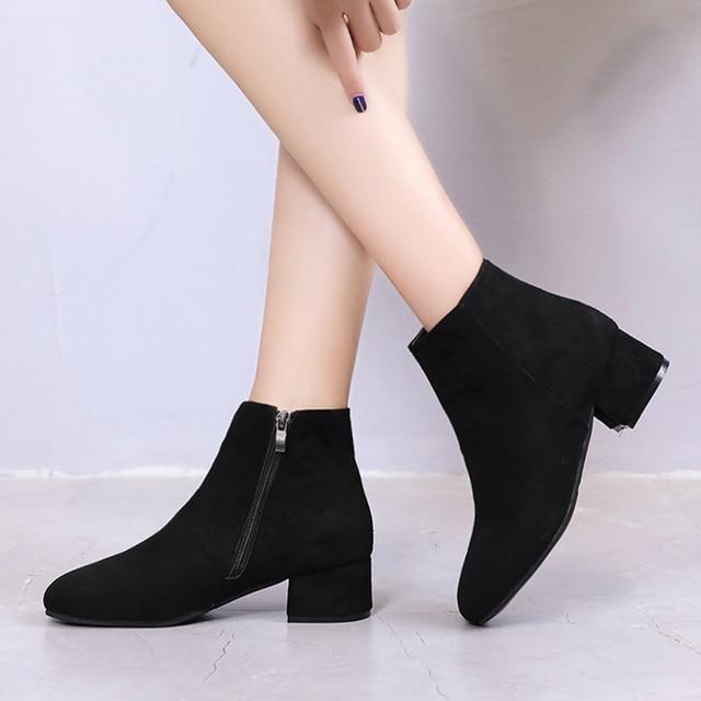 Plus size Winter Boots Women Low Heels Boots Black Ankle Boots Woman Faux  Suede Booties designer shoes botas mujer 6777 e25a77189e