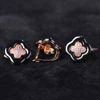 Blucome Black Ceramic Jewelry Sets Earrings Rings Zircon Leaf Clover Brincos Rose Gold Anel China Porcelain