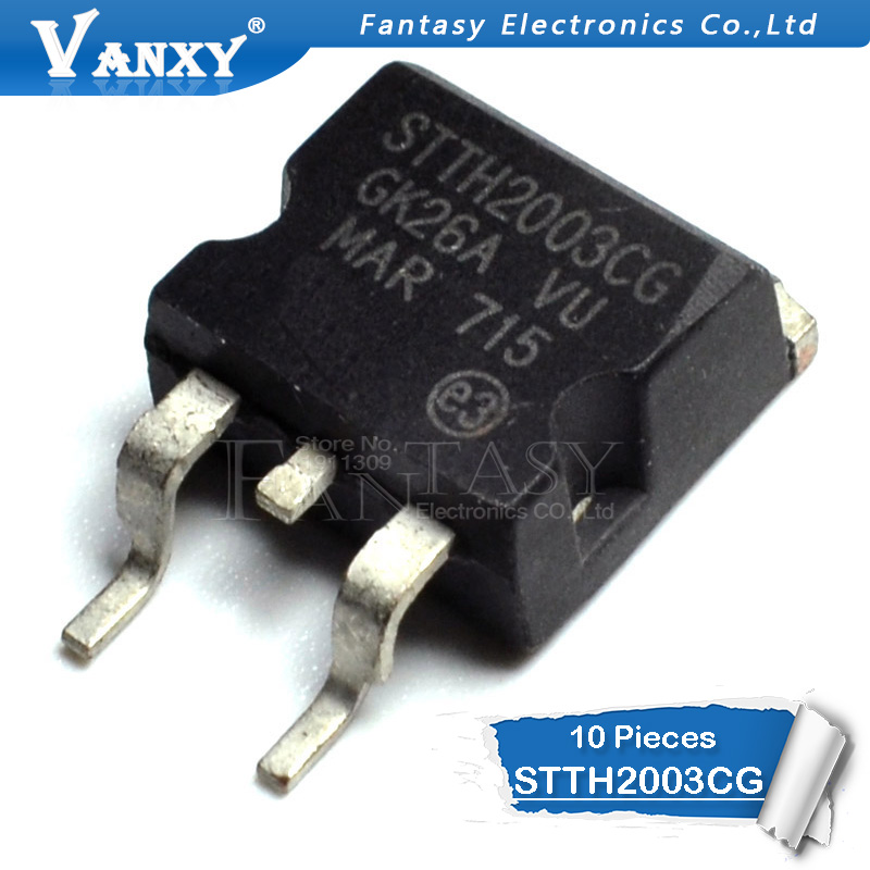 10 x STTH2003CG HIGH FREQUENCY SECONDARY RECTIFIER TO-263