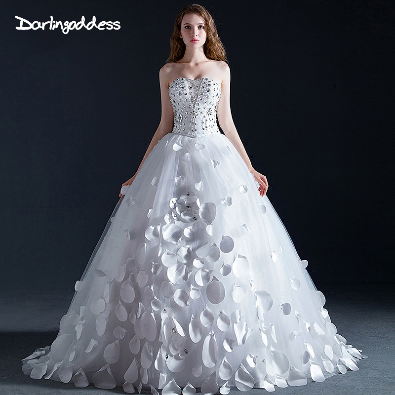 Princess Diamond Wedding Dresses Bling Crystal Strapless Corset Back Royal Long Train Sexy Luxury Dress 2018 Real Photo In From
