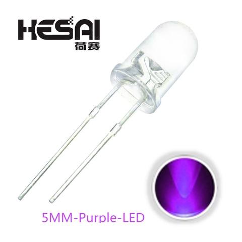 Smart Electronics 100pcs/lot F5 Super Bright 5MM Round UV Purple Transparent LED Light Lamp Emitting Diode High Quality Pakistan