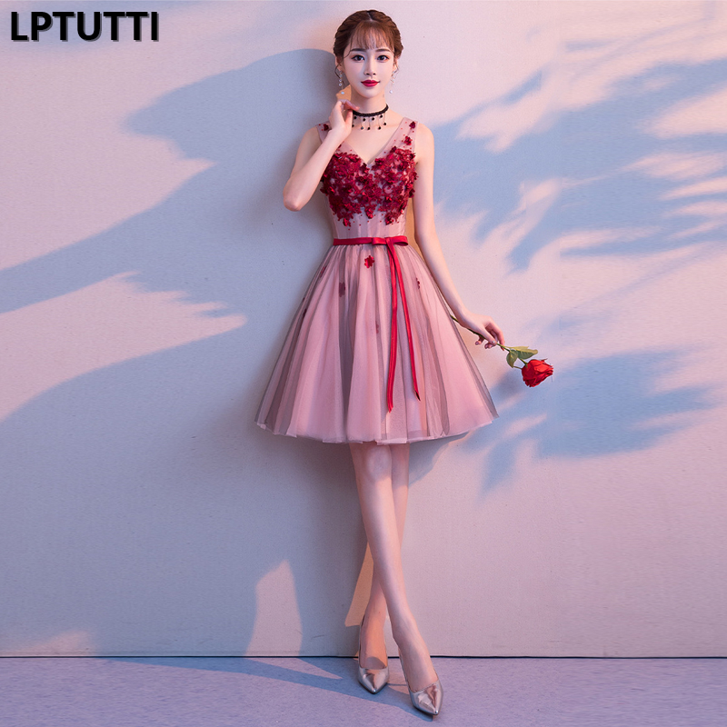 LPTUTTI Appliques Lace New Sexy Woman Plus Size Social Festive Elegant Formal Prom Party Gowns Fancy Short Luxury   Cocktail     Dress