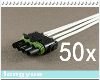 longyue 50pcs 4-Way flat female comnector pig tail Weather Pack Wire Harnesses 25cm wire