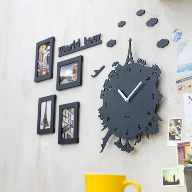 PINJEAS Personality Quartz Watch Earth Tour Non Ticking Silent Wall Clock High Quality Home Decoration Decorative Wall Clock