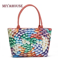 Miyahouse Summer Canvas Tote Bags Women Colorful Panelled Printed Shoulder Handbags Lady Large Capacity Female Canvas