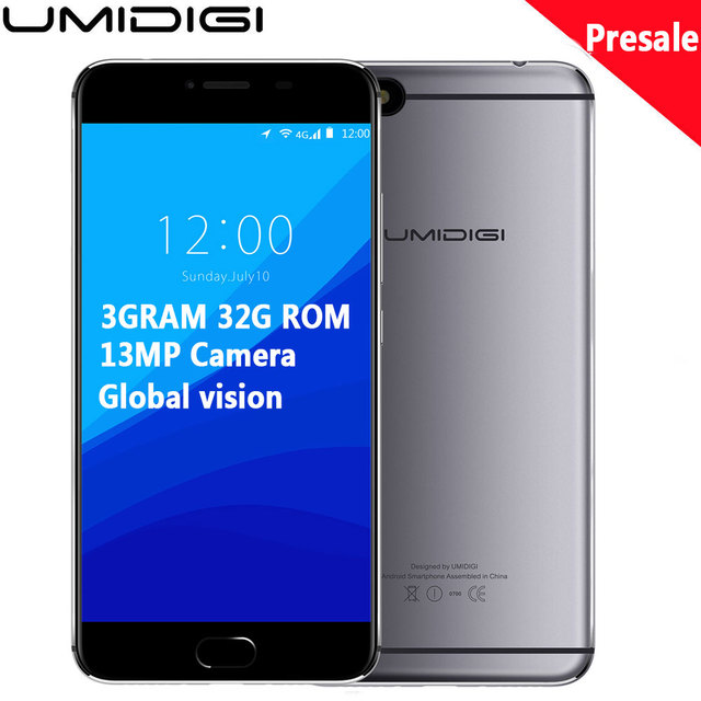 "Original Umidigi C Note Android 7.0 Unlocked Cell Phones 3G RAM 32G 3800mAh Quad Core 4G LTE 5.5"" 1920x1080P 13MP Mobile Phone"