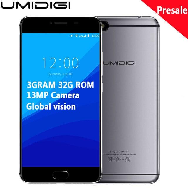 """Original Umidigi C Note Android 7.0 Unlocked Cell Phones 3G RAM 32G 3800mAh Quad Core 4G LTE 5.5"""" 1920x1080P 13MP Mobile Phone"""