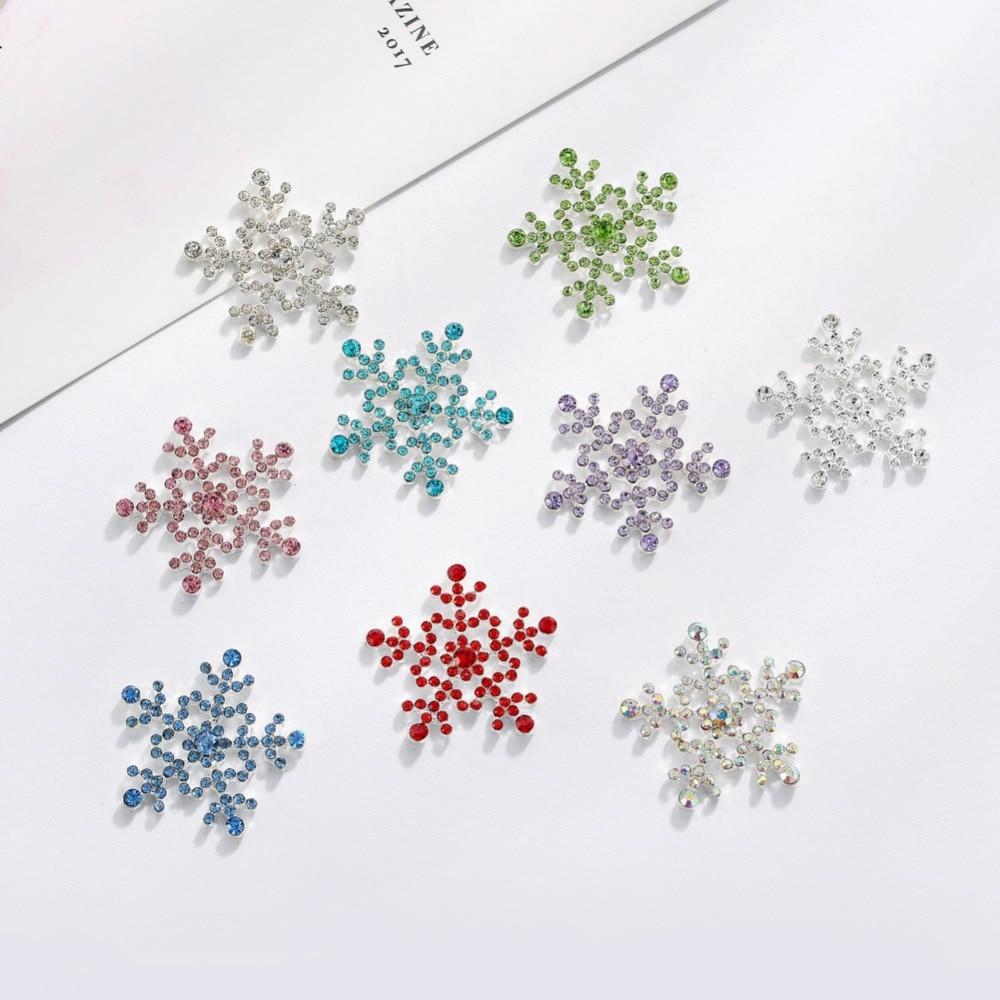 Free Shipping 25mm Flatback Rhinestone Button Snowflake For Christmas 10PCS MIX Colors(BTN-5401)