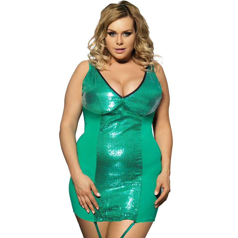 R7891 On sale plus size nighty dress erotic lingerie sequined one color font b sex b