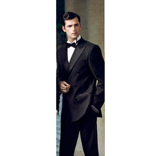 Black Wool Blended Double breasted Wedding Suits Groom Tuxedos Business Suits Formal Tailcoats suits wedding groom 2 pieces