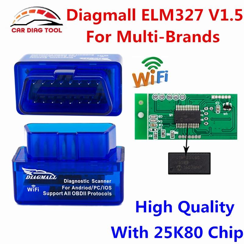 Prix pour Marque Nouveau Diagmall Super Mini V1.5 ELM327 WIFI OBD2 OBDII Auto Outil De Diagnostic ELM 327 Wi-Fi Sans Fil Pour Android/IOS