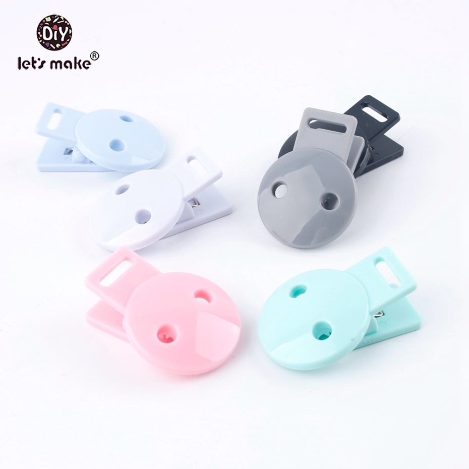 Let's Make Baby Accessories Round Head Pacifier Clips 3pc Mix Infant Soother Clip DIY Beads Baby Plastic Pacifier Clips Teether