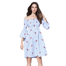 Summer Sweet Dresses Embroidery Floral Slash Neck Flare Sleeves 2017 Women Striped Fashion Vestidos Mujer Knee-length Vacation