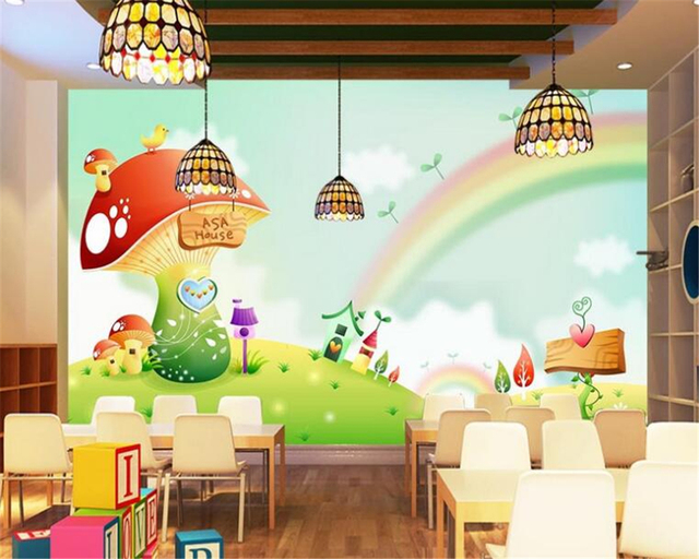 Behang Kinderkamer Regenboog : Beibehang aangepaste behang dreaming regenboog paddestoel nursery