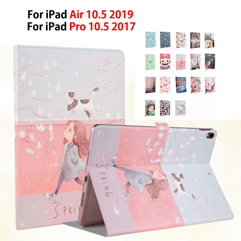 Slim Painted Case For iPad Air 10.5 2019 Smart Cover For iPad pro 10.5 2017 Funda Soft TPU PU Leather Auto Sleep wake ShellSlim Painted Case For iPad Air 10.5 2019 Smart Cover For iPad pro 10.5 2017 Funda Soft TPU PU Leather Auto Sleep wake Shell