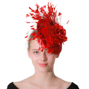 Image 5 - Red imitation Sinamay Fascinator headwear women Bridal imitation Event Occasion Hat for Kentucky Derby Church Wedding Party Race