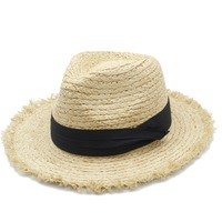 100% bast Stroh Frauen Männer Breite Krempe Sonnenhut Für elegante Dame Sommer Panama Hut Königin Sunbonnet Strand Sonnenhut Fedora kappe