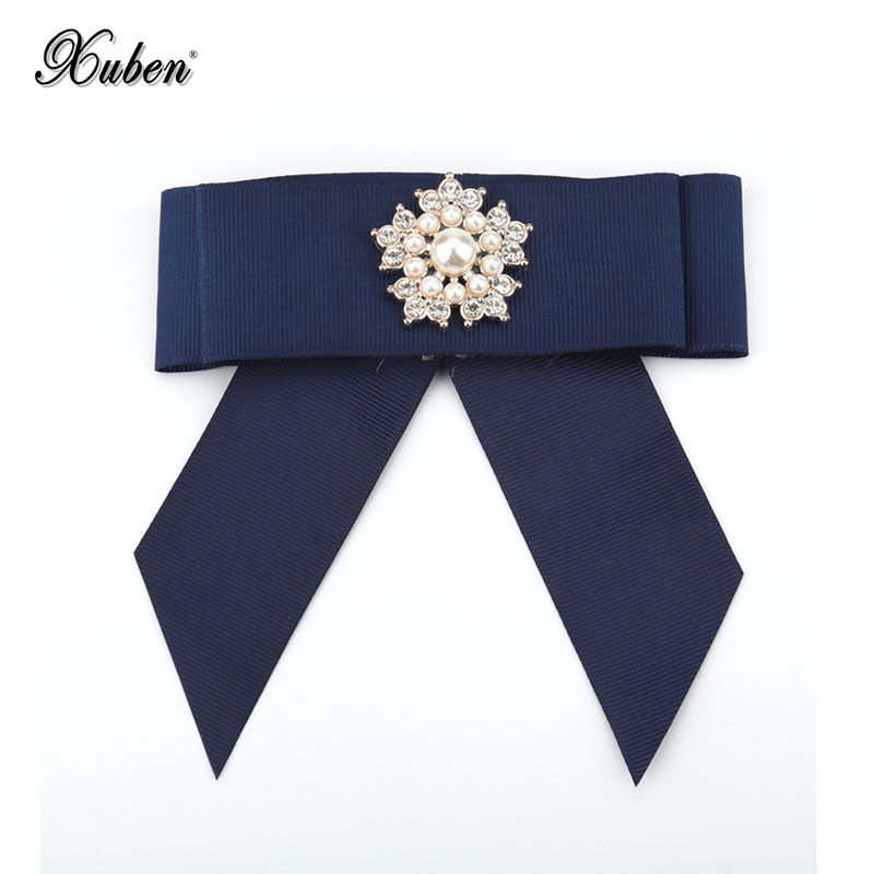 6 Crystal Pearl Photo Picture Frame Diamond Bowknot: Xuben Women Imitation Pearls Crystal Bow Brooches Collar