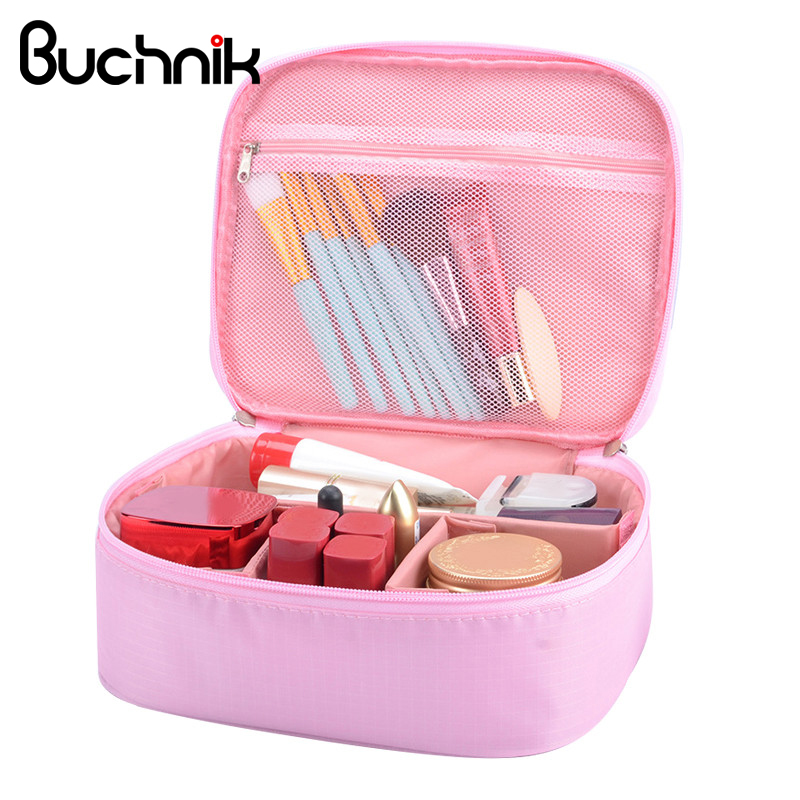 Solid Women Men Beautician Cosmetic Bags Nylon Dustproof Wash Toiletry Organizer Pouch Makeup Case Travel Accessories Supplies brand designer makeup bags sequins luxury cosmetic bags organizer women toiletry bag wash beautician professional cosmetic case