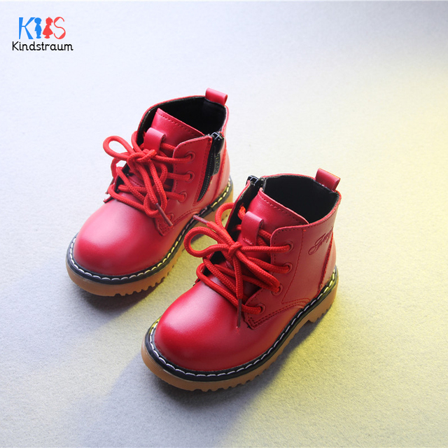 Kindstraum 2017 New Spring Boys & Girls PU Leather Martin Boots Top Quality Children Casual  Lace-Up Shoes Fashion,EJ052