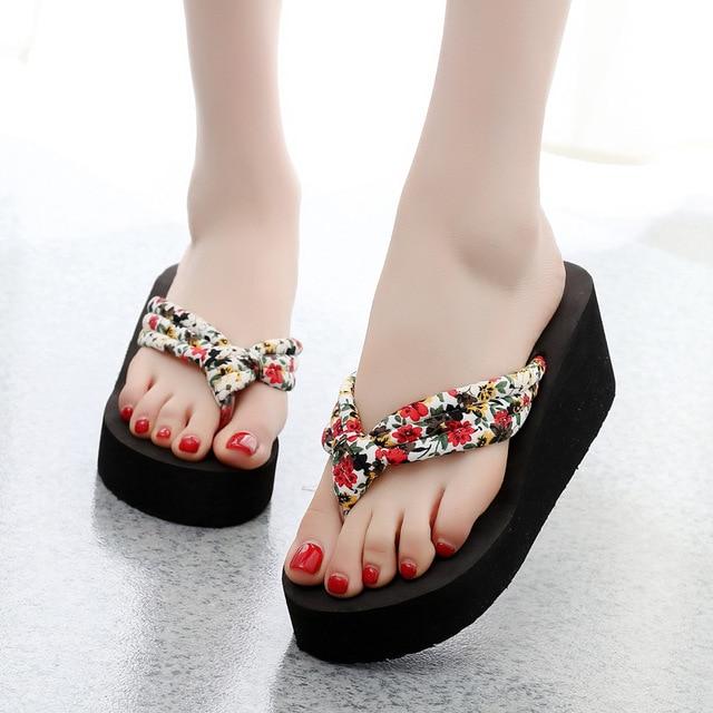 cdad6b91d43b8 2018 New Summer Women Flip Flops Slippers High Heel Platform Wedge Thick  Beach Casual Thong Sandals