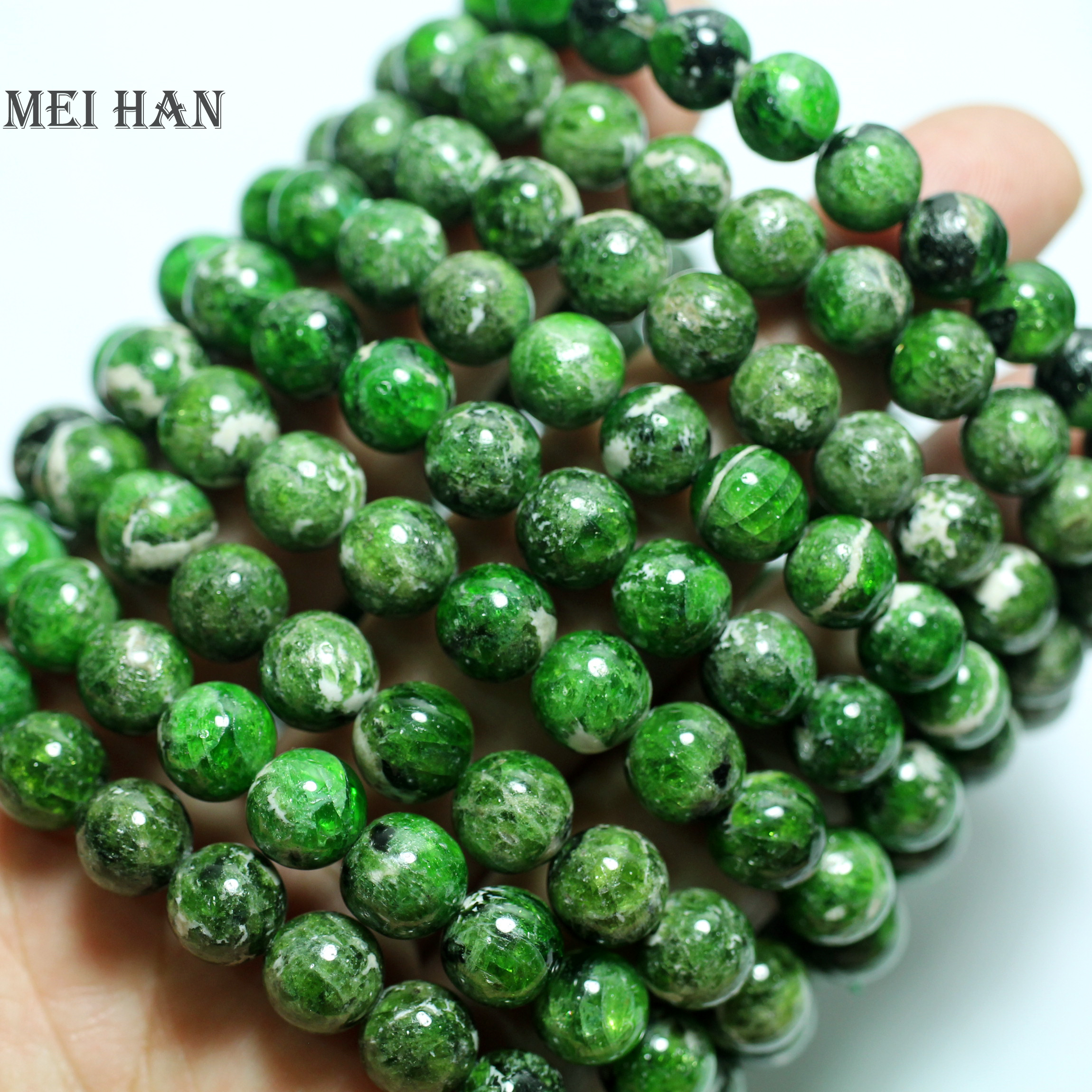 Wholesale 2 bracelet set natural green chrome diopside 8 8 5mm smooth round loose stone beads