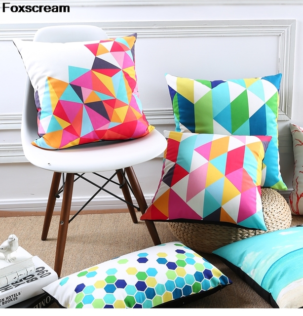 nordic style pillow cover geometric cushions covers home decor green throw pillows red decorative pillows case for sofa 45x45cm
