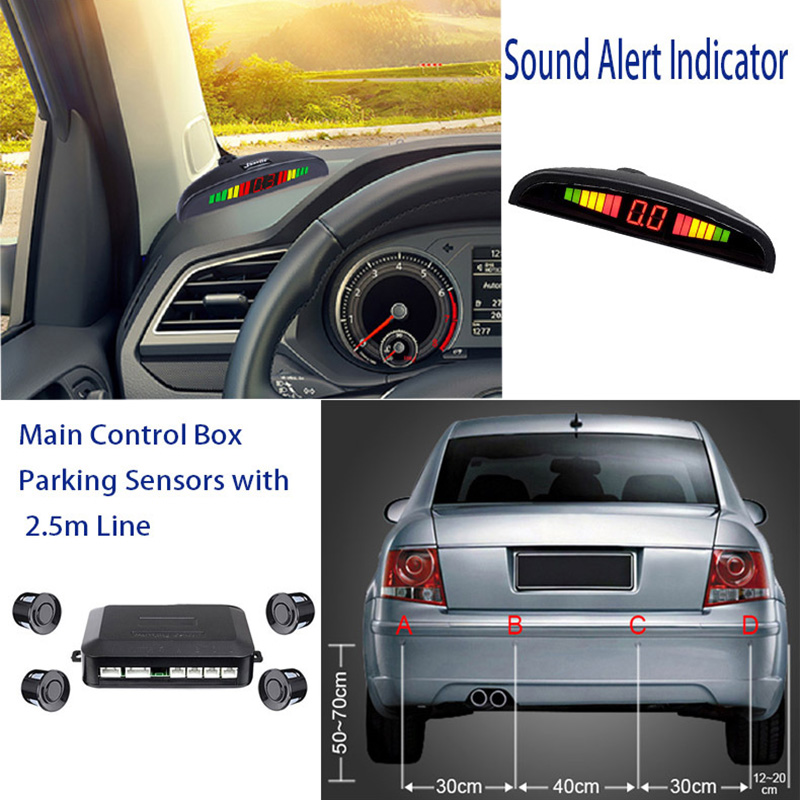 TOSPRA Auto Auto Parktronic LED Parkplatz Sensor Mit 4 Sensoren Reverse Backup Parkplatz Monitor Detektor System Display