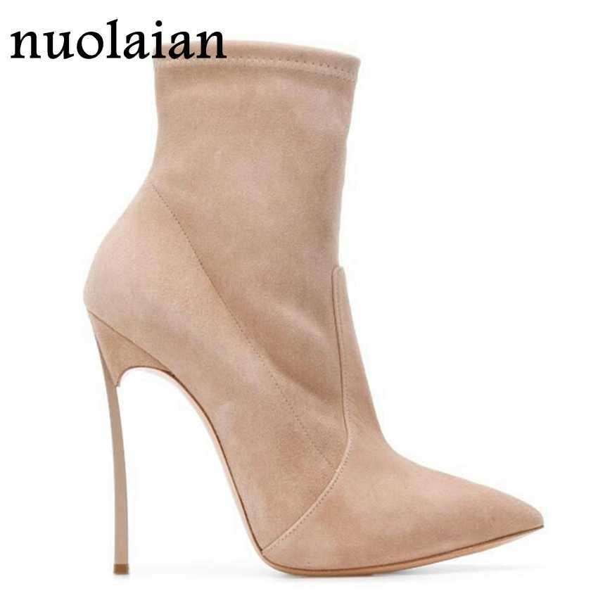 10.5 Cm Hitam Kulit Suede Sepatu Wanita Musim Dingin Sepatu Hak Tinggi Wanita Menunjuk Toe Pertengahan Betis Boots Wanita Tinggi tumit Kaus Kaki Boot