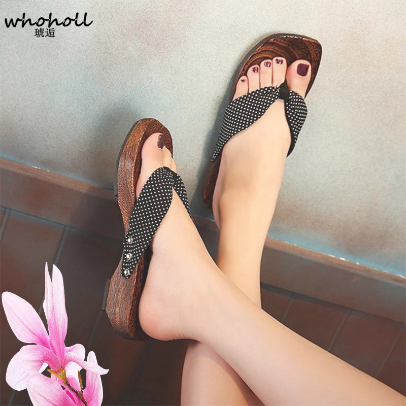 WHOHOLL Geta Sandals Women Summer Flip-flops Cos Japanese Geta Wooden Clogs Slippers Female Home Wedge Platform Sandals whoholl geta women flat sandals japanese wooden geta floral printed clogs shoes for women flip flops slippers indoor home slides