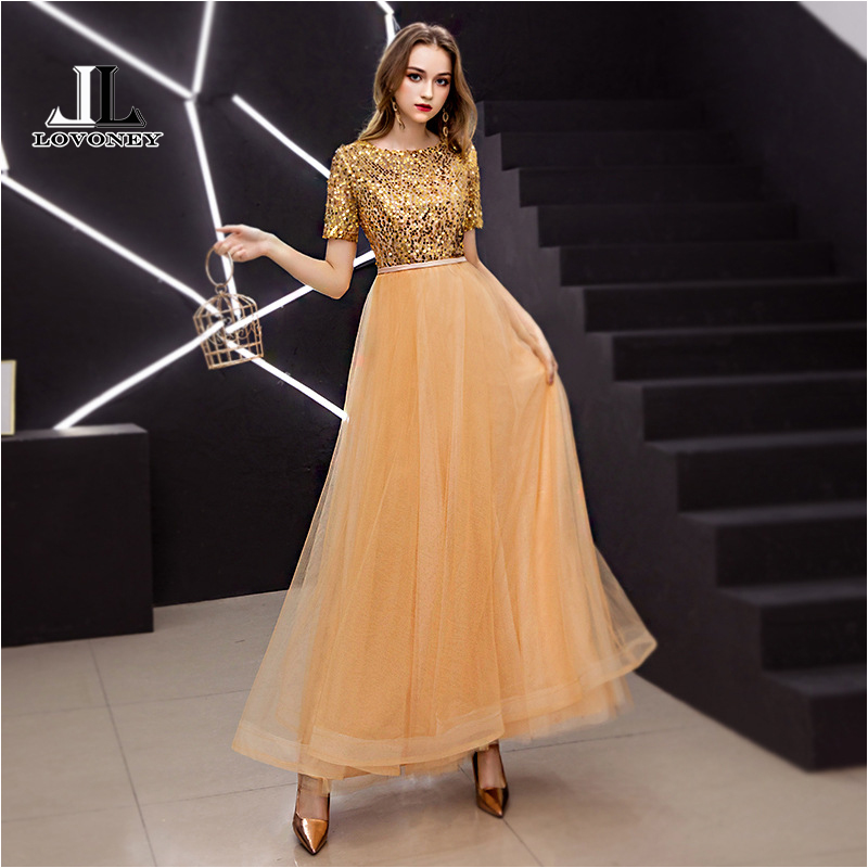 LOVONEY A Line Short Sleeves Sequins   Evening     Dress   Long Formal   Dress   Occasion Party   Dresses     Evening   Gown Robe De Soiree XYG832