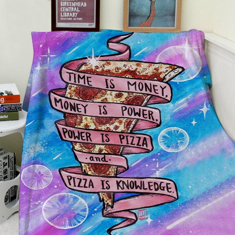 Одеяло пледы тепло Мягкие плюшевые Забавный пиццы Galaxy время-деньги пиццы знания пледы на диван-кровать Пледы одеяло