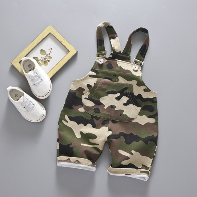 Casual Summer Baby Boys Girls Roupas Bebe Striped Camouflage Infants Kids Children Cotton Overalls Shorts Pantalones 1-4Y