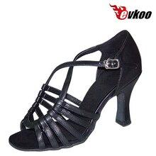Evkoodance Satinado O Pu Mujer Girls Popular Profesional Zapatos de Baile Latino 7 cm Zapatos de Tacón Alto Suave Evkoo-158