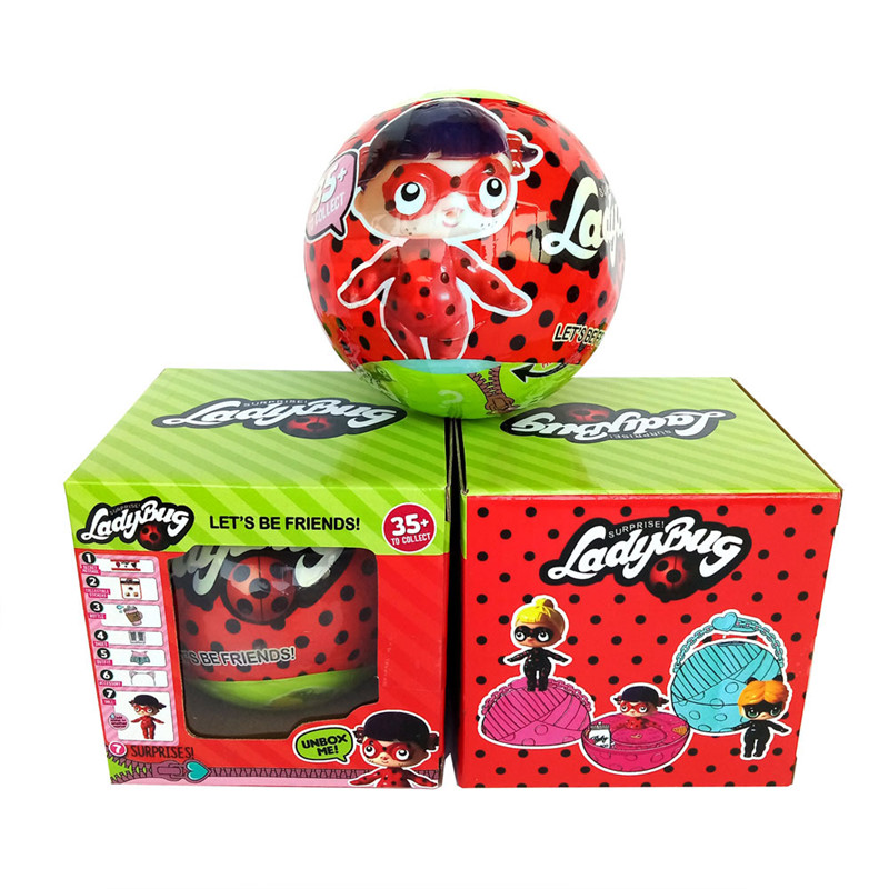 1pcs Ladybug Surprise Doll Water Spray Surprise Egg Ball LadyBug Cartoon Series Girls Egg Toy Action Figures Birthday Gifts lovely red ladybug doll toy