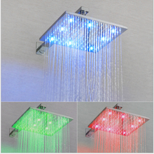 Luxury 3 color LED Ceiling 8 10 12inch Mounted Shower Set Mixer Bathroom Led Rainfall Head Room