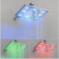 Luxury 3 color LED Ceiling 8 10 12inch Mounted Shower Set Shower Mixer Bathroom Led Rainfall Shower Head Shower Room
