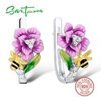 Silver Drop Earrings Handmade Enamel Flower White Cubic Zirconia Stone Pure 925 Sterling Silver Woman Earrings