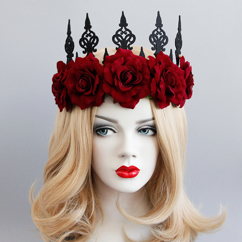 flower crown rose halloween headdress decoration queen girl women headband cos play makeup props party gothic hair accessories in party diy decorations from