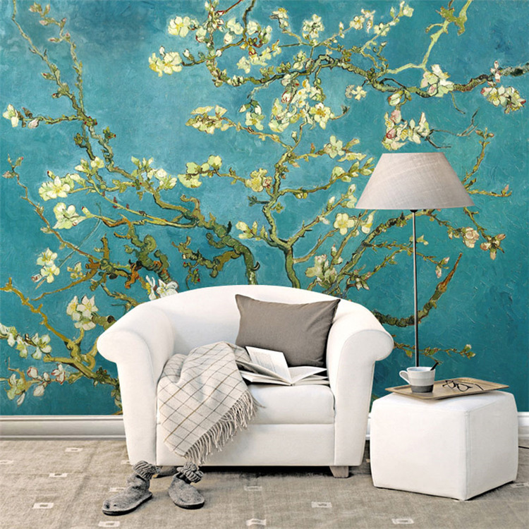 gogh tree blossom bedroom mural apricot wallpapers