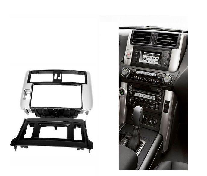 Double Din Stereo Panel For TOYOTA Land Cruiser Prado (150) 2009+Fascia Radio DVD Dash Mounting Installation Trim Kit Face Frame ityaguy fascia for ford ranger 2011 stereo facia frame panel dash mount kit adapter trim