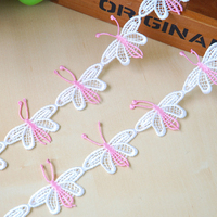 DoreenBeads 13 5m White Pink Butterfly Lace Ribbon Tape Cotton Webbing Sewing Applique For Dress Hairband