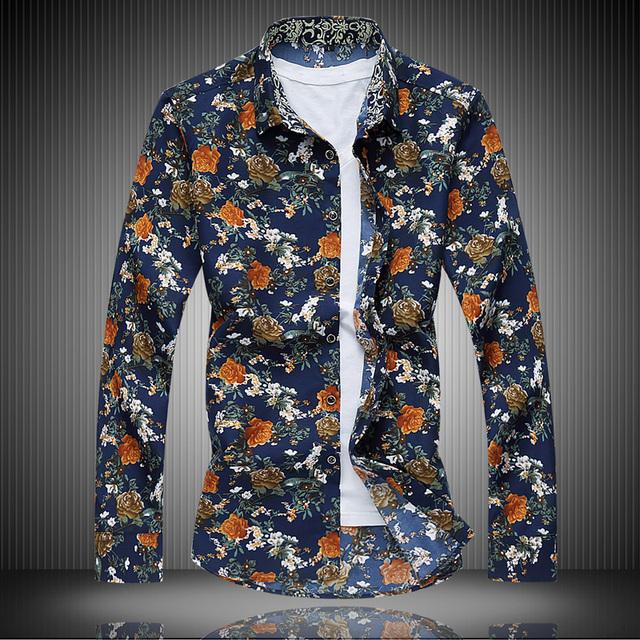 Ventas calientes Clásico Estampado floral Otoño Primavera Hombres de La Moda de Calidad Ropa masculina Slim Fit Casual Beach Tamaño Camisetas de Manga Larga 7XL
