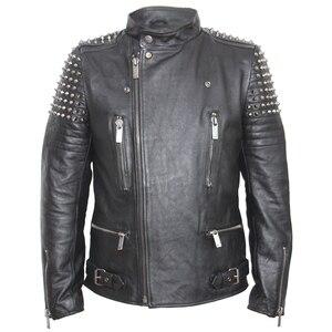 Image 3 - Мужская кожаная куртка с заклепками MAPLESTEED, черная Толстая байкерская куртка из воловьей кожи в стиле панк, мотоциклетная одежда для зимы, м139, 2019