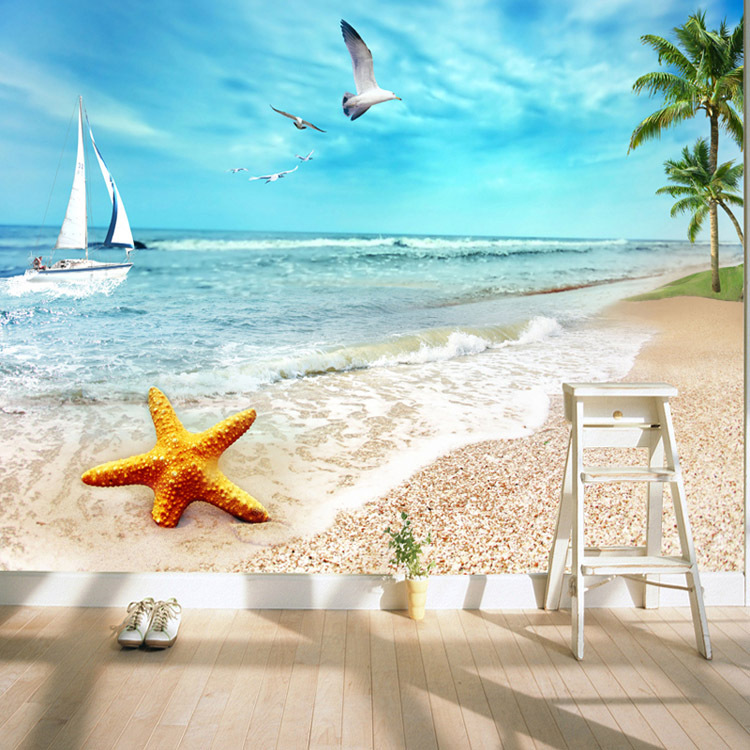 Beau Charming Sunny Beach Wallpaper Ocean Wall Murals Custom Seascape Photo  Wallpaper Children Room Wall Art Bedroom Living Room In Wallpapers From  Home ...