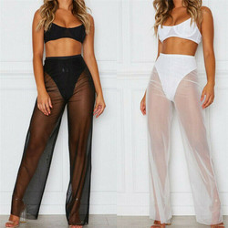 Lady Beach Mesh Sheer Bikini Cover Up Fashion Women See Through Swimwear Long Pants Elegant Woman Transparent Trousers Cover-up