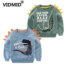 VIDMID children's long sleeve cotton t-shirts clothes boys cartoon Dinosaur tops for 2-7 years kids long letters clothing  4072