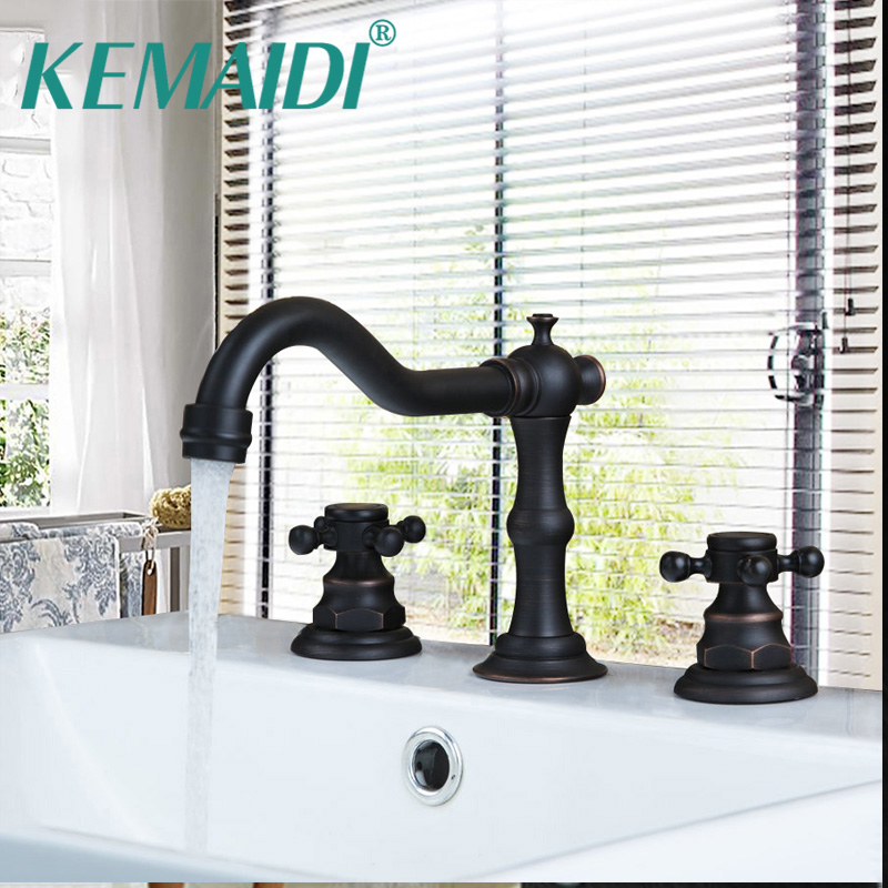 KEMAIDI US Bathtub Retro Swivel Spout Oil Rubbed Bronze Black 3 Pieces Bathroom Basin Sink Brass Faucet Mixer Tap стоимость
