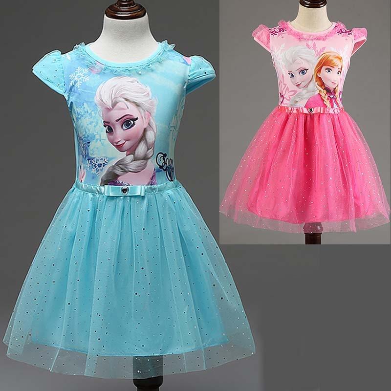 Ny sommar barnkläder tjejer klänningar elsa prinsessa klänning - Barnkläder